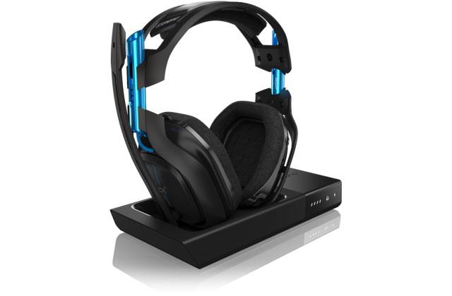 Cuffie gaming pc astro a50, cuffia wireless azzurra con padiglioni in tessuto e base per ricaricarla