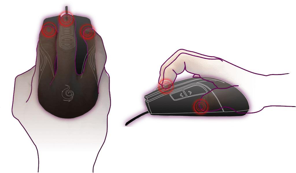 impugnatura del mouse claw grip