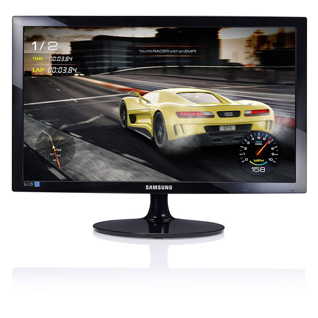 Monitor pc gaming nero con immagine di un video gioco, marca samsung