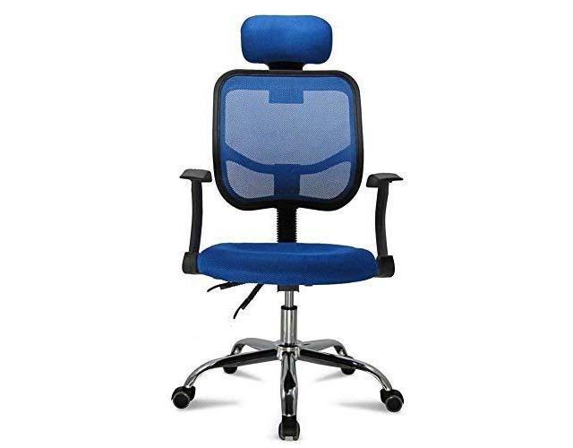 Sedia azzurra per giocare traspirante, con braccioli e schienale regolabile