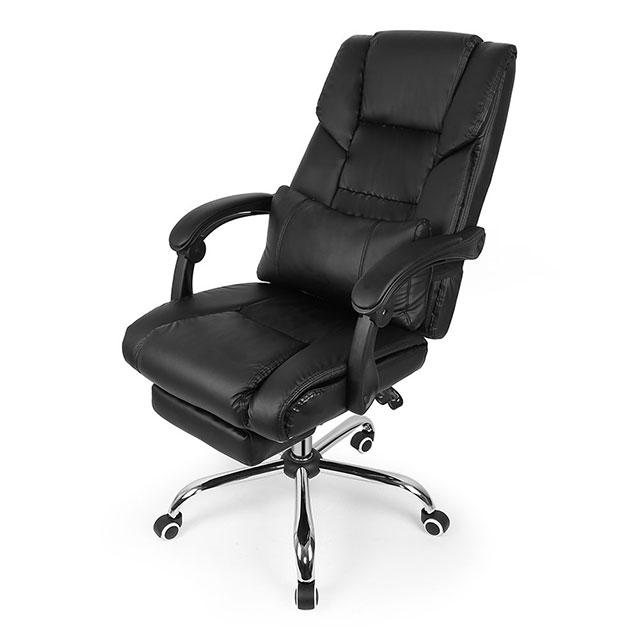 Sedia da ufficio o gaming nera in similpelle con schienale regolabile e poggia piedi