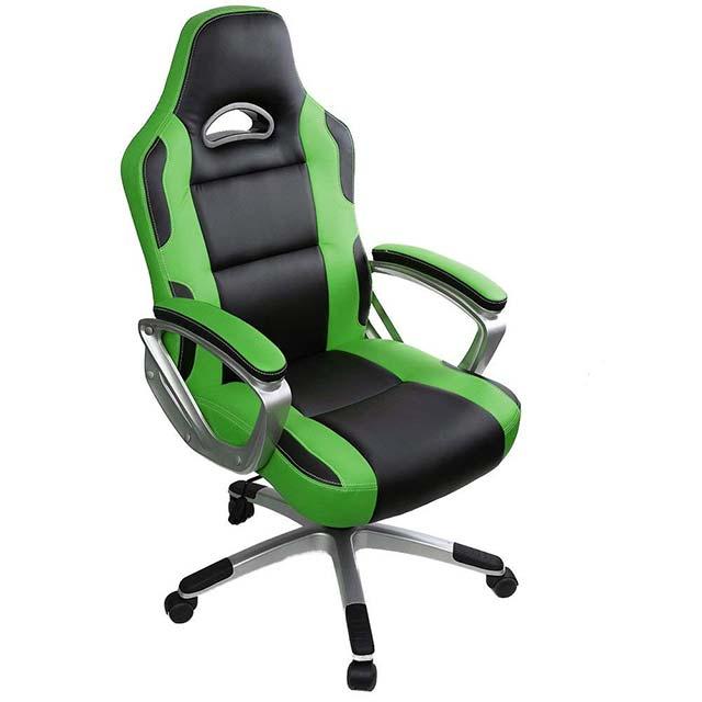 intimate WM heart sedia da gaming economica colore verde con poggia gomiti fissi