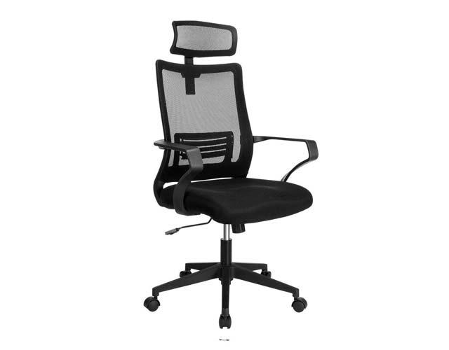 Sedia traspirante da ufficio o gaming con supporto lombare colore nero