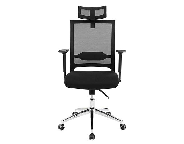Sedia traspirante per giocare colore nero con schienale regolabile e poggia gomiti