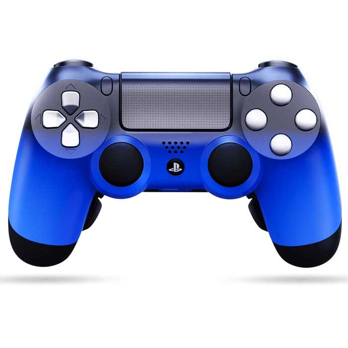 Foto frontale del custom ps4 controller evil shift, di colore azzurro