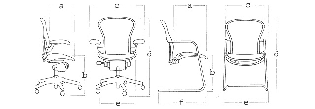 tabella delle misure per la sedia Herman Miller Aeron