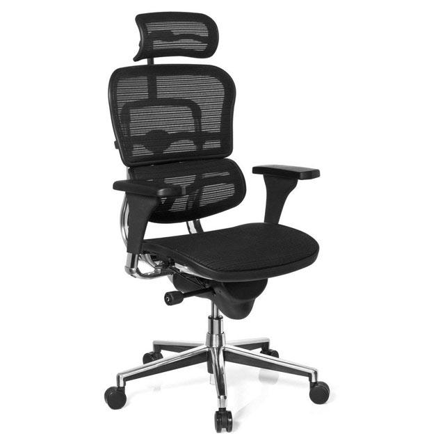 Sedia ergonomica traspirante colore nero con schienale in rete