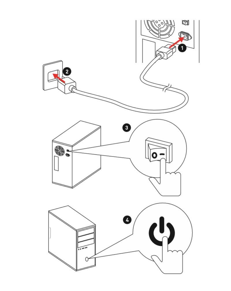 collega il PC alla presa e accendi