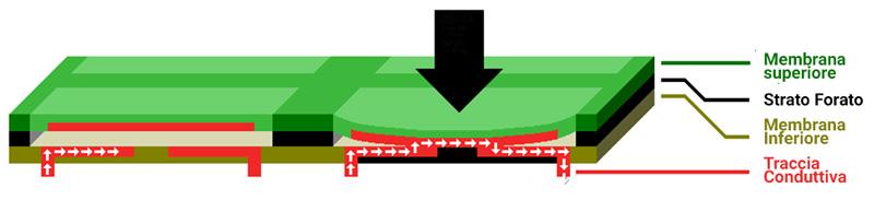 tastiere a membrana schema tecnologia