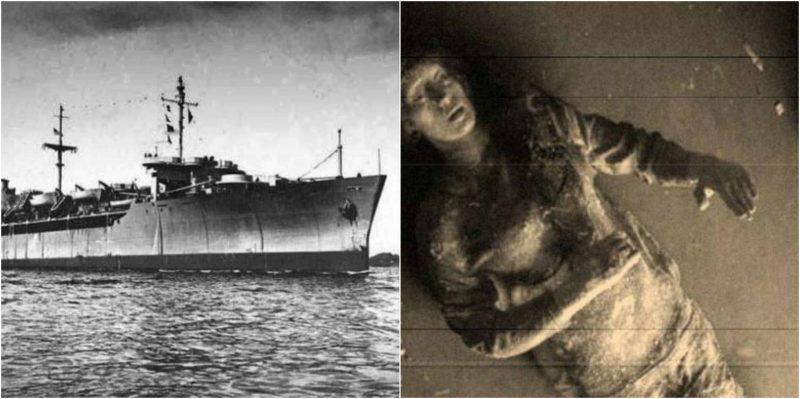 Una foto d'epoca che ritrae uno sfortunato membro dell'equipaggio dell'SS Ourang Medan
