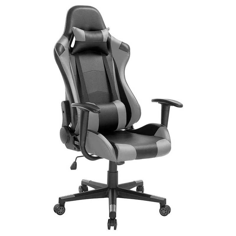 Sedia da gaming economica BAKAJI nera con inserti grigi e cuscino lambare e cervicale per renderla ergonomica