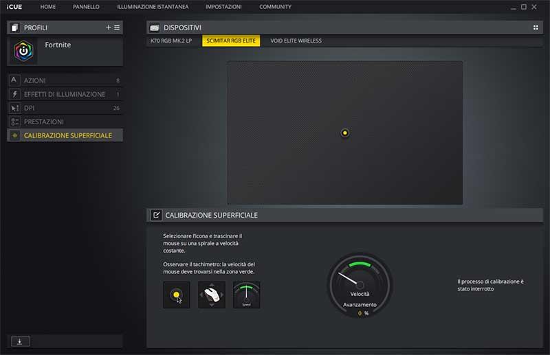 Corsair Scimitar calibrazione sensore mouse pad