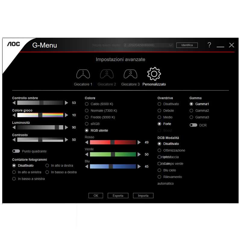 pannello di controllo monitor AOC G suite