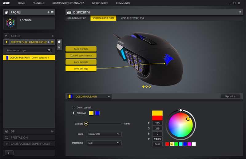 software corsair scimitar illuminazione RGB