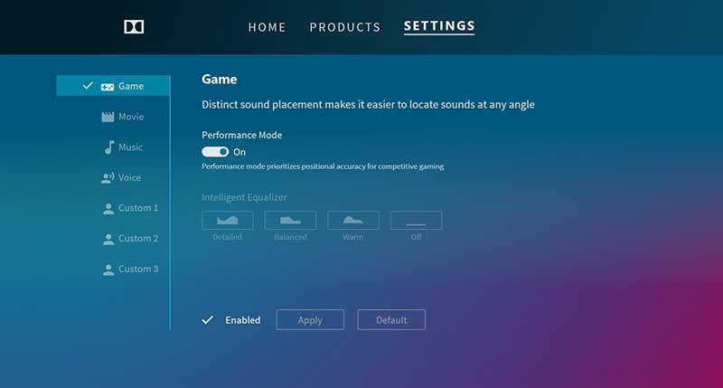 Dolby Atmos schermata selezione modalita