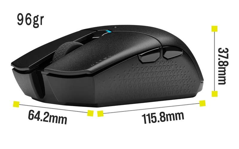 Corsair katar Pro mouse wireless peso e dimensioni